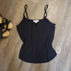 Black strappy tank. Pink republic